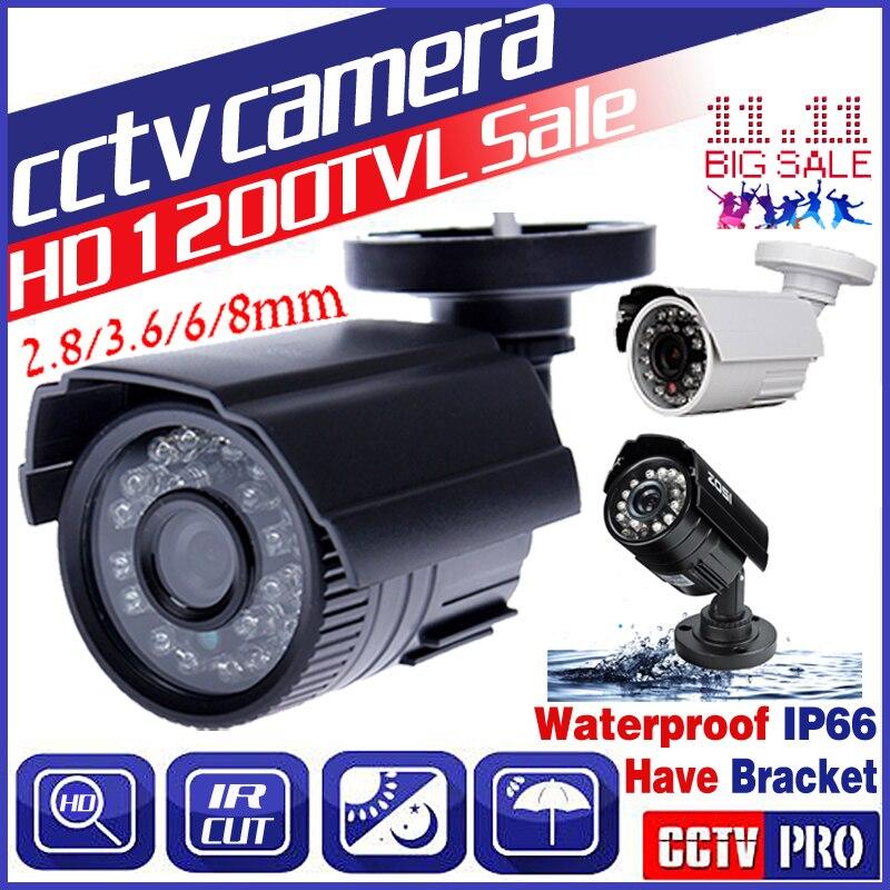 3,28 BigSale Real 1200TVL HD Mini cámara Cctv al aire libre impermeable IP66 24Led visión nocturna pequeño analógica seguridad vigilancia vidicón