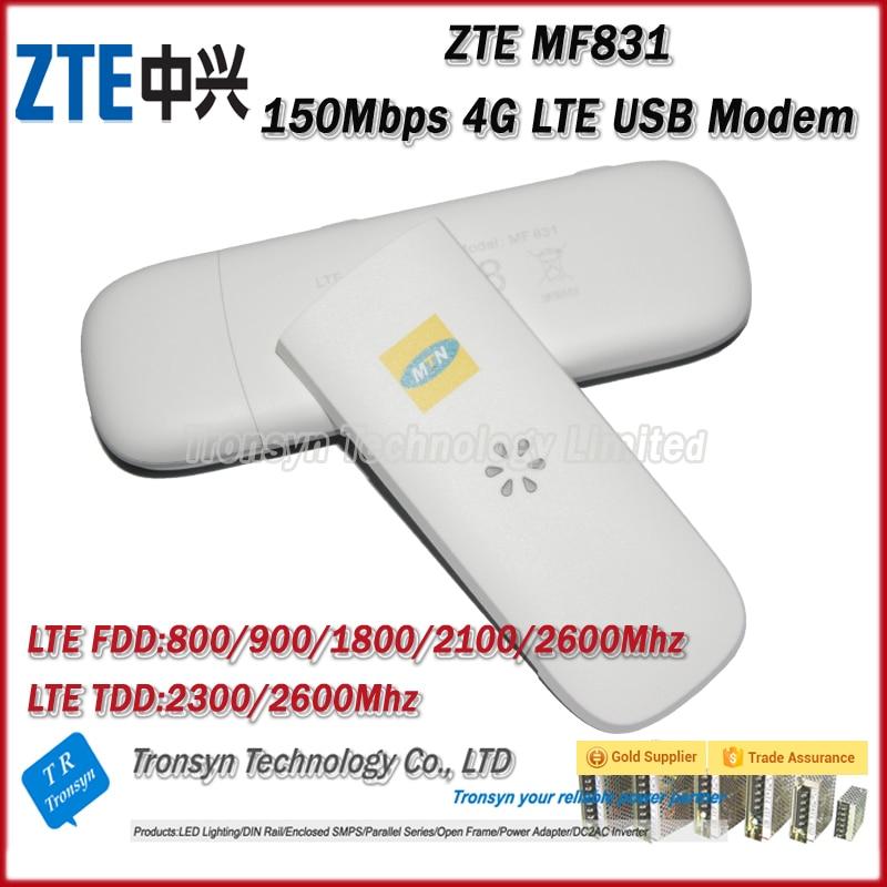 New Arrival Original Unlock 150Mbps ZTE MF831 4G LTE USB Modem Support LTE FDD B1 B3 B7 B8 B20 TDD B38 B40