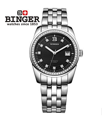 Binger new fashion CZ diamond ring Platinum plated watch gentlemen business watches  wholesale multicolor optional wristwatch
