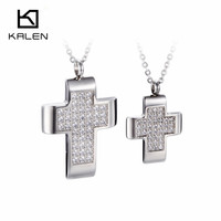 Kalen High Quality Stainless Steel Jewelry Cross CNC Stone Rhinestone Women Mens Pendant Necklace For Lovers