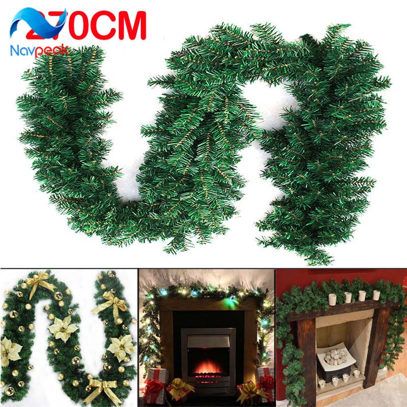 Us 11 47 2 7m 9ft Artificial Green Wreaths Christmas Garland Fireplace Wreath For Xmas New Year Tree Home Party Decoration In Pendant Drop