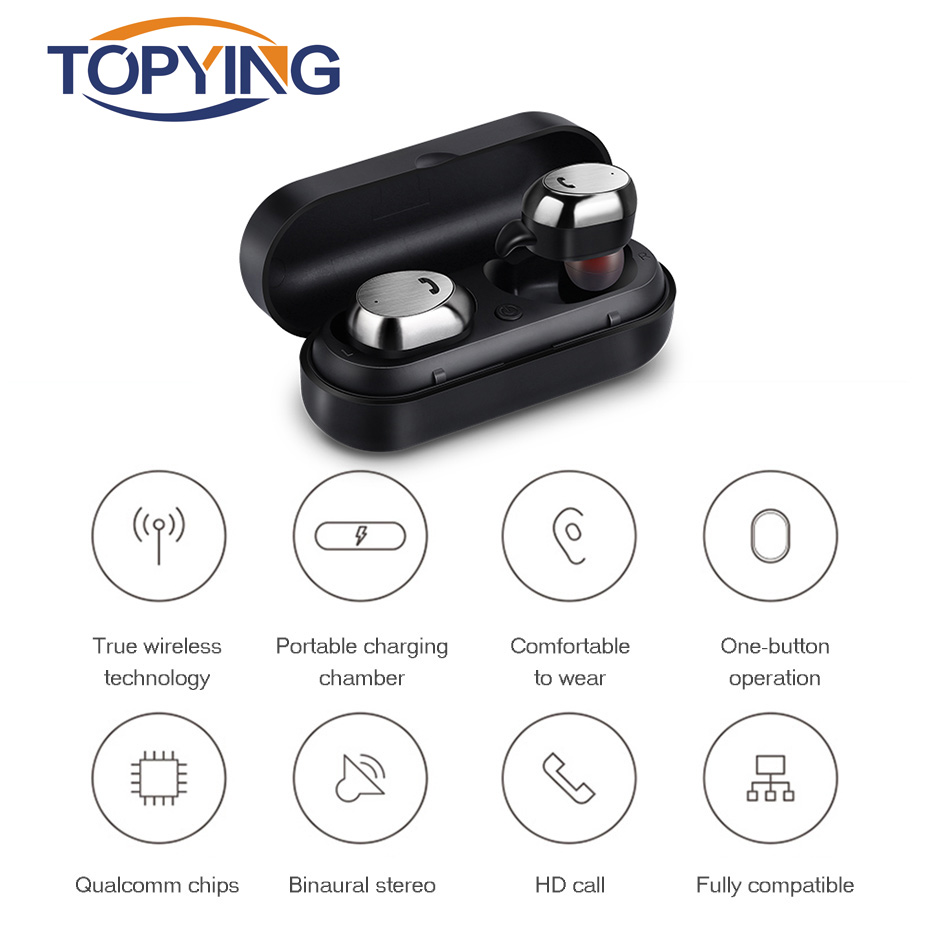 TOPYING Stereo Bluetooth 4.2 Headset Mini Bluetooth Headset Noise Canceling For Music Sport Bass Binaural Wireless For Mobile bluedio f2 active noise canceling bluetooth headset