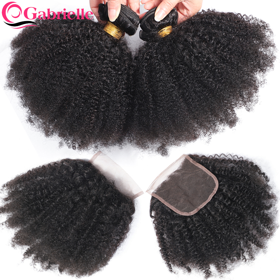 Gabrielle Hair Afro Kinky Curly Bundles with Closure Brazilian Human Hair Natural Color Remy Hair Extensions
