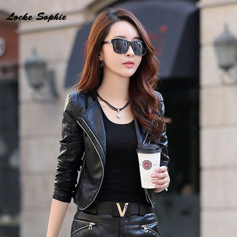 1pcs Women's Plus size short jacket coats 2019 Spring faux fur PU Leather Splicing Small Jacket ladies Skinny locomotive coats