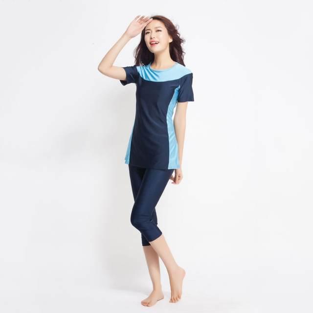 16e38d510ee placeholder Arrivals 1set Women Short sleeve muslim swimsuit swimwear  modesty style Muslimah Swim Clothing Islamic Wear S