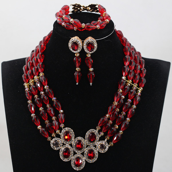 Wine African Beads Crytal Rhinestone Pendant Necklace Set Burgundy Teardrop Beads Bridal Indian Jewelry Set Free Shipping WD973