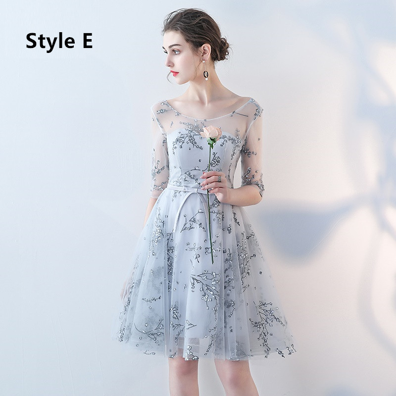Flower Pattern Sashes Lace Knee Length Bridesmaid Dress 7