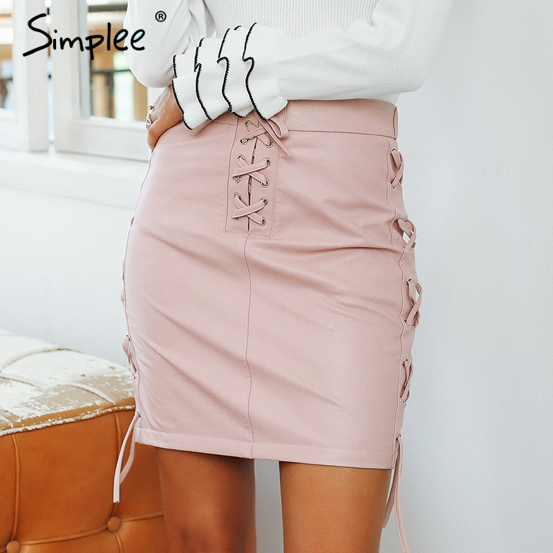 Simplee Lace Up Pu Leather Pencil Skirt High Waist Split Sexy Skirt 2018 Autumn Winter Casual Short Skirts Bottom Women