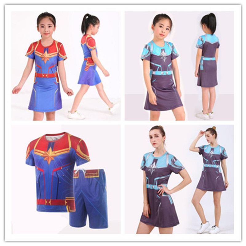 Marvel Captain Marvel Parent Child Cosplay Costume Sport T-shirt Dress Short Sleeve Jumpsuit Top Short Adult Children Unisex