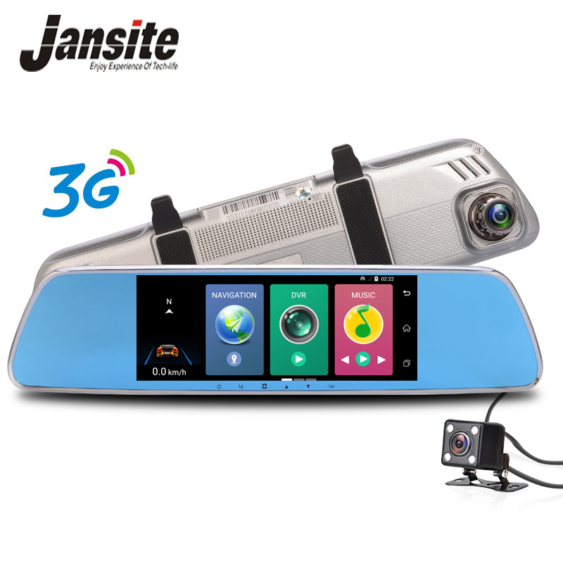 Jansite GPS navigation Car Dvr 3G Wifi car camera 7 Touch screen Android 5.0 Bluetooth rearview mirror Dash Cam Two cameras