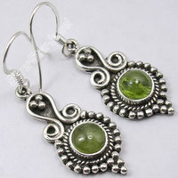 Silver GENUINE PERIDOT GORGEOUS HANDMADE Earrings 4.4 CM New FACTORY DIRECT
