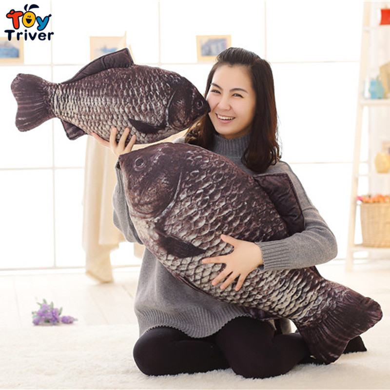 Plush Crucian Carp Black Fish Toy Pillow Cushion Stuffed Doll Kids Children Baby Boy Friend Birthday Gift Home Shop Decor Triver free shipping touch key wired 7 inch color screen video intercom door phone system 3 monitors 1 outdoor bell camera in stock