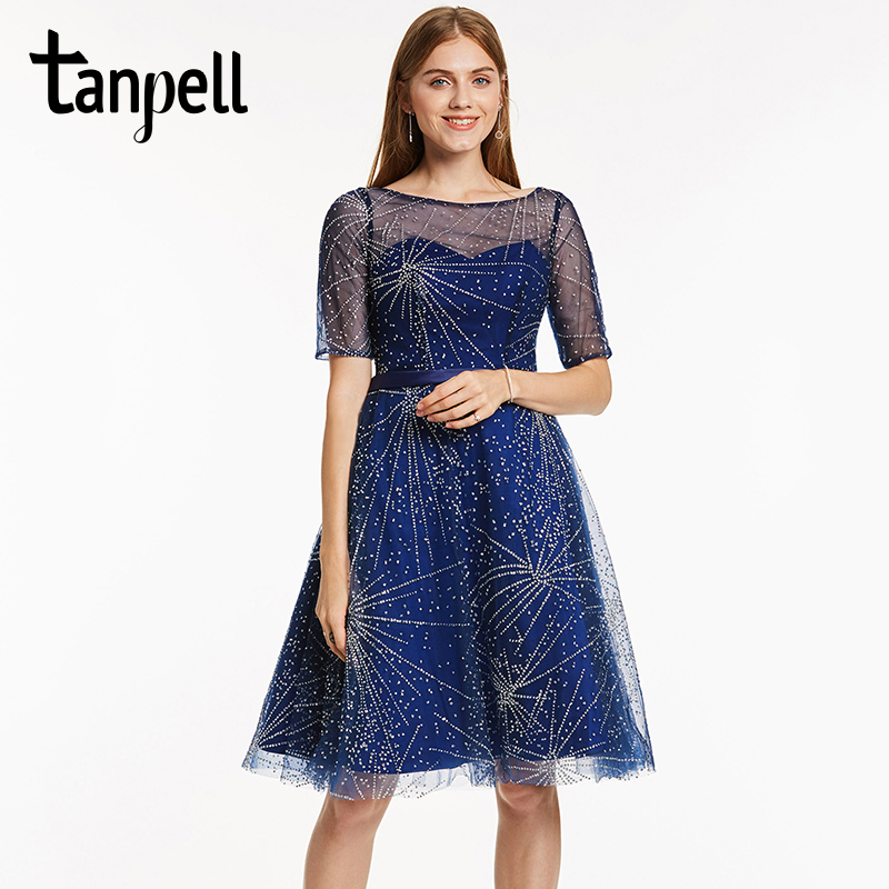Tanpell scoop beaded cocktail dress dark royal blue half sleeves knee - Special Occasion Dresses