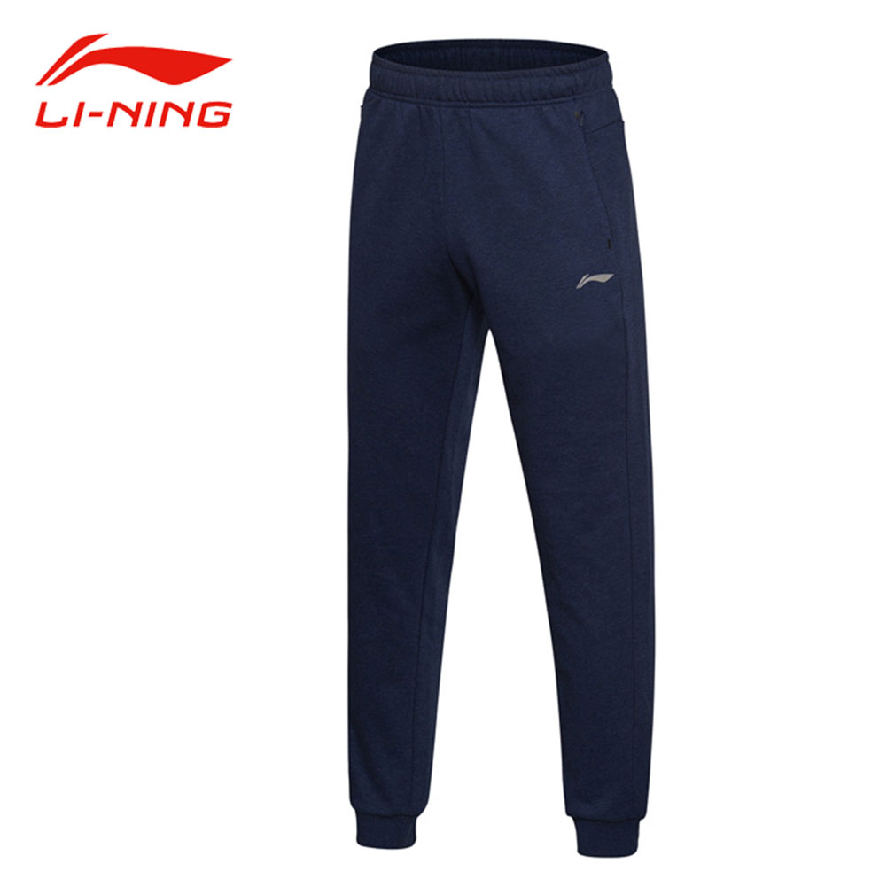 Li-Ning Men Comfort Training Sweat Pants 61% Cotton 39% Polyester Long Pants LiNing Autumn Winter Sports Trousers AKLM699 цена