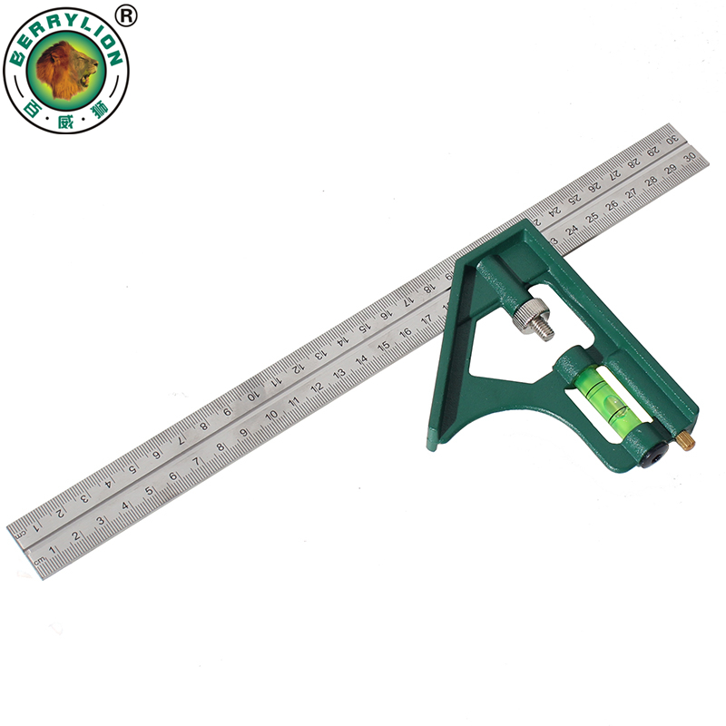 Berrylion 300mm Combination Square Angle Ruler 45 90 Degree With Bubble Level Multi-functional