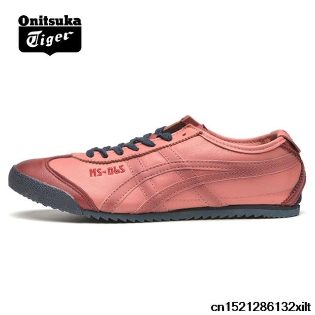 85f5aced14d9 2018 ONITSUKA TIGER MEXICO 66 Men s Women Shoes sheepskin Beige dark blue  Unisex Low Classic Sneakers Badminton shoes