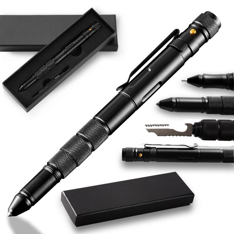 Multi-Function Military Defense Tactical Pen Emergency Flashlight Strobe Bottle Opener Glass Breaker Waterproof Storage Case