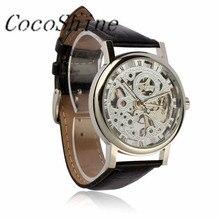 A-898 CocoShine Mens Luxo Relógio Esqueleto Mecânico Vento Mão Pulseira de Couro Relógio de Pulso por atacado Frete grátis