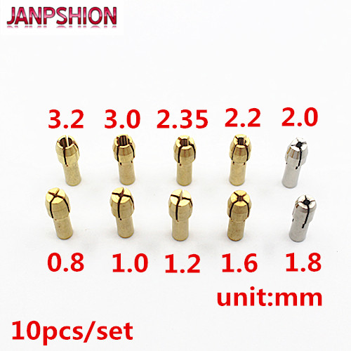 JANPSHION 10pcs Mini Drill Brass Collet Chuck 4.3mm Shank Size For Dremel Rotary Tool 0.5/0.8/1.0/1.2/1.5/1.8/2.0/2.4/3.0/3.2mm