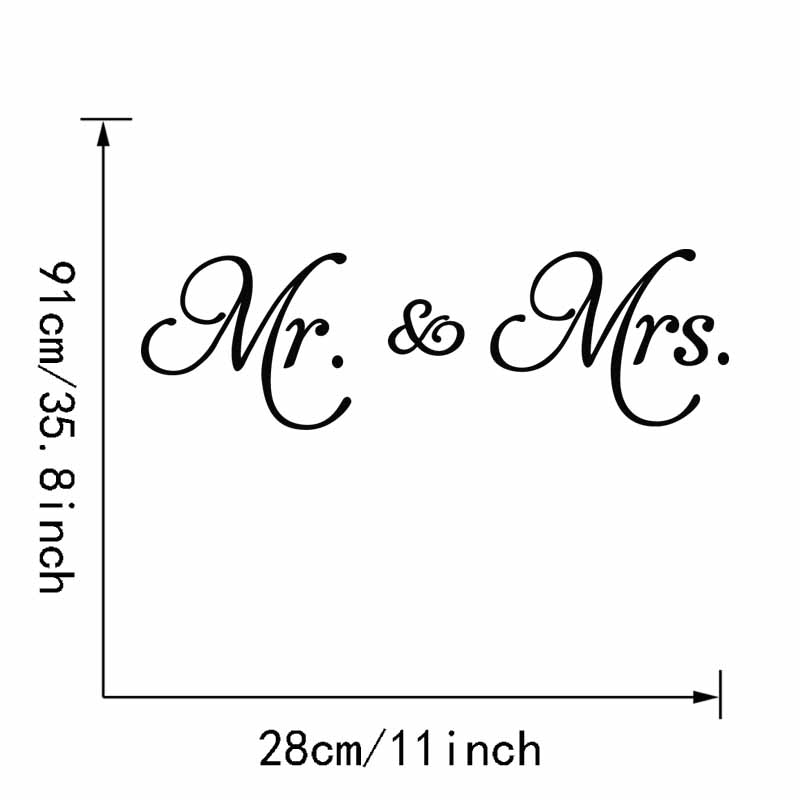 28x91cm Mr Mrs Vinyl Wall Sticker Love Quotes Wall Decal