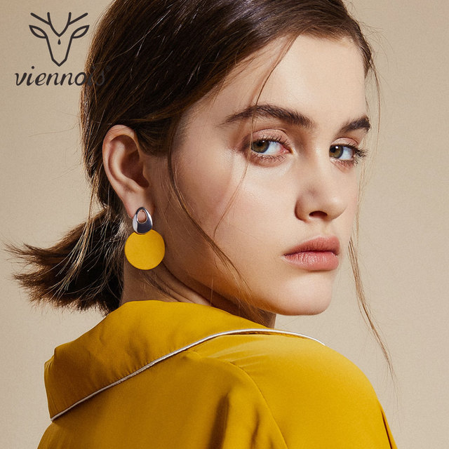 Viennois Dangle Earrings For women Rose Gold Color Earrings Fashion Jewelry Green & Red Trendy Round Earrings