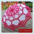 Vintage Aumentou Rendas Bordado Algodão Battenburg Parasol Umbrella Casamento Nupcial Do Guarda-chuva Guarda-chuva Decoração Frete Grátis