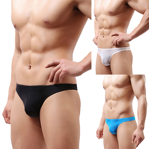 Men's Sexy Thongs Briefs Solid Color Underwear Bulge Pouch Soft Underpants elastic string bulge pouch sheer briefs