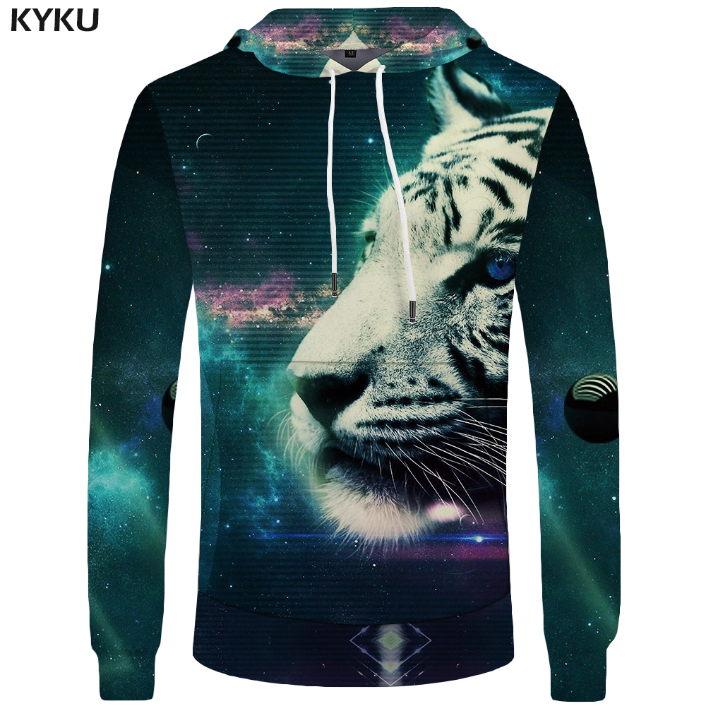 KYKU Tiger Hoodies Men Galaxy Sweatshirt Animal Hoddie Pocket Mens Clothing Big Size 3d Hoodies Cool Sweat shirt Casual Male