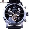Forsining 5 Hands Tourbillion Fashion Wave Dial Design Multi Function Display Men Watches Top Brand Luxury