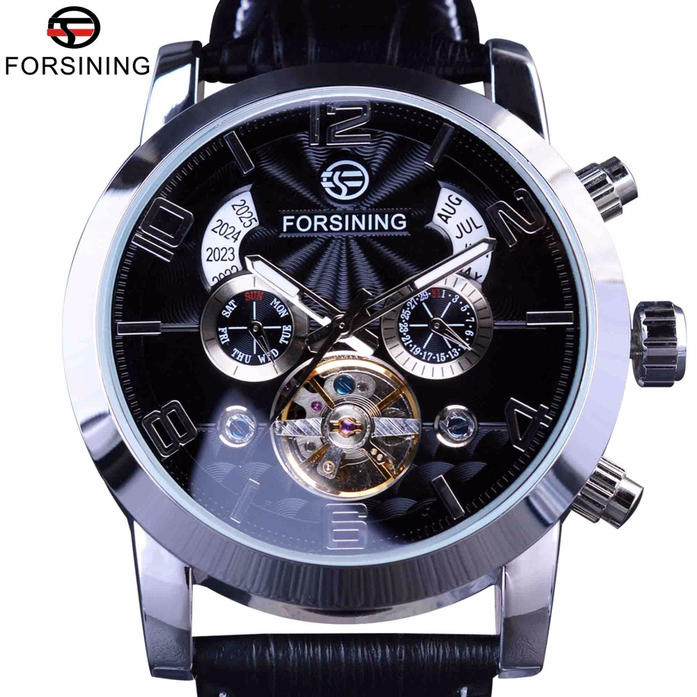 Forsining 5 Hands Tourbillion Fashion Wave Dial Design Multifunctionele Display Herenhorloges Topmerk Luxe Automatische Horlogeklok