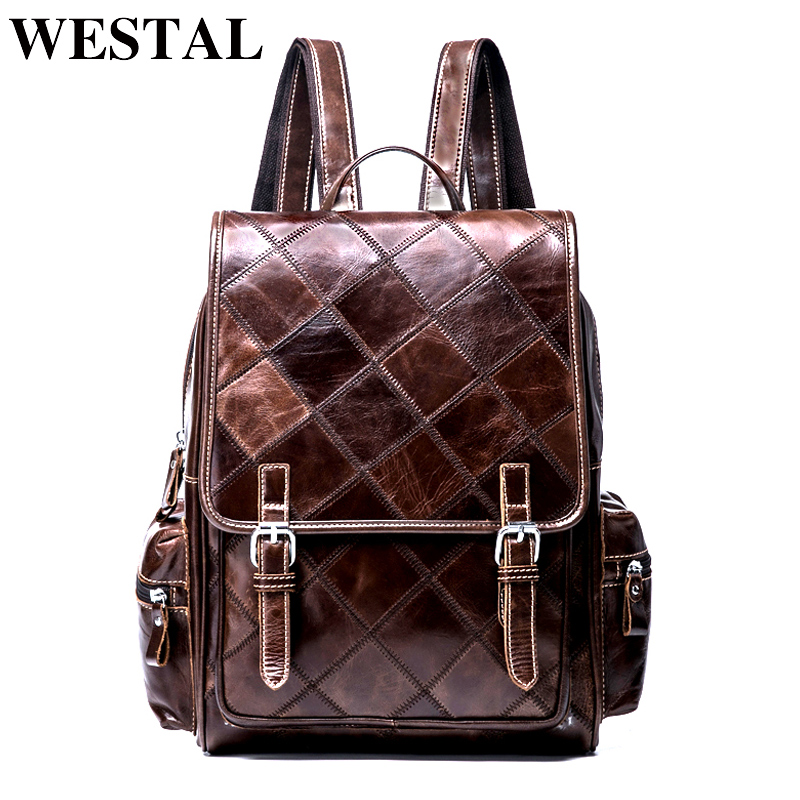 WESTAL Plaid Women Backpack Genuine Leather Backpack for Girls Teenages Backpacks Female School Bags Leather Laptop Backpacks backpack female genuine leather women backpacks school bag plaid strip multifunctional cow leather travel backpacks lf15833