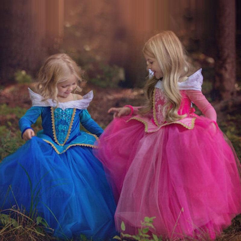 NEW Girls Sleeping Beauty Princess Costume Spring Autumn Girl Dress Pink Blue Princess Aurora Dresses for Girls Party Costume