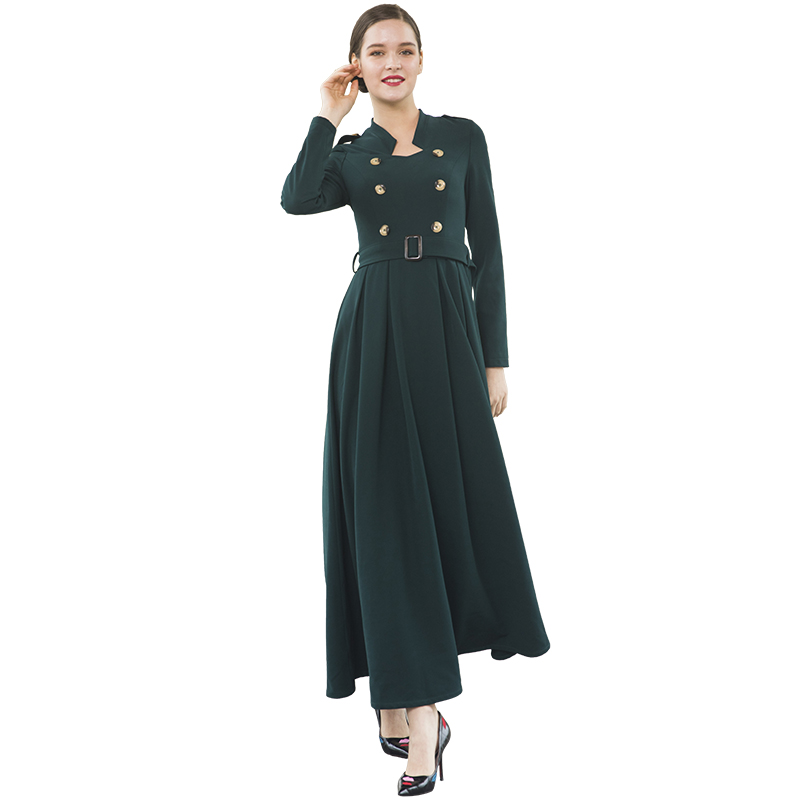 Office Lady Fashion Double-breasted British Style Long Dress Long Sleeve Green Slim Women Long Dresses Women Burqa DZ2026