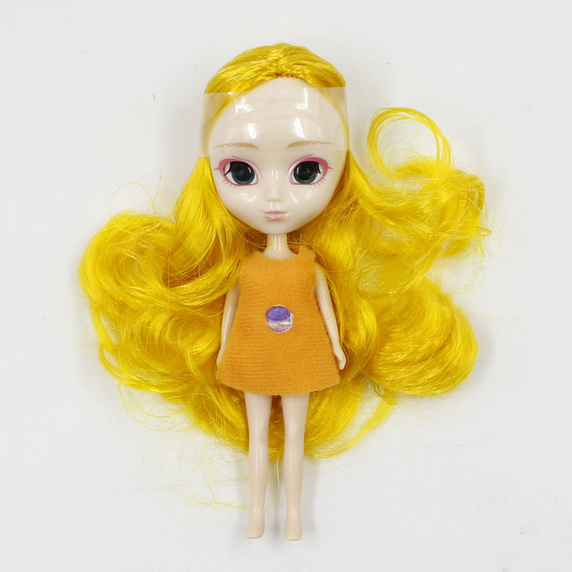 Mini Blyth Doll No Bangs 12CM Many Kinds of hari with Random Dress DIY Fashion Toys