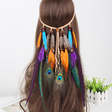 2017 fashion peacock feather pedant suede headband india style bohemian handmade feather headband hair accessories