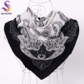 Black White Women Twill Silk Scarf Shawl Apparel Accessories Ladies Brand Square Scarves Wraps Winter Spring Decoration Scarves
