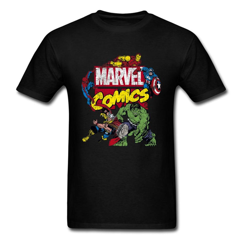 Classic Marvel Comics T Shirts Hulk Iron Man Thor Spider Man Captain America Team Power Tshirt For Men Cool Fashion Vintage