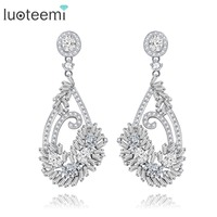 LUOTEEMI Fashion Jewelry High Quality Flower Shapes Statement Long Earrings For Women White Gold Plated Brinco