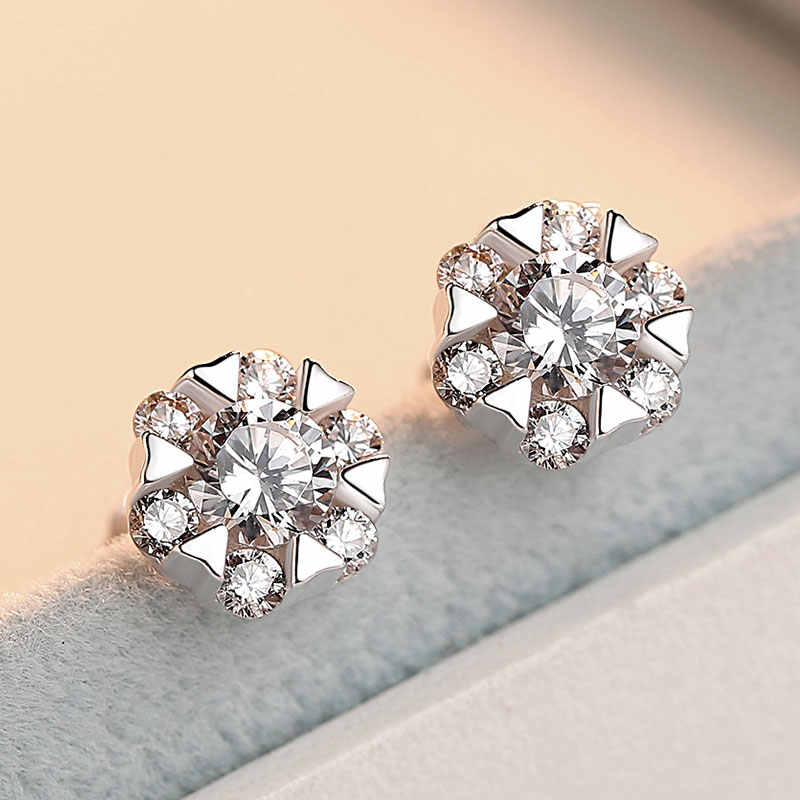Promotion 925 Sterling Silver Snowflake Shine Cubic Zirconia Female Stud Earrings Original Jewelry For Women Anti Allergy Gift