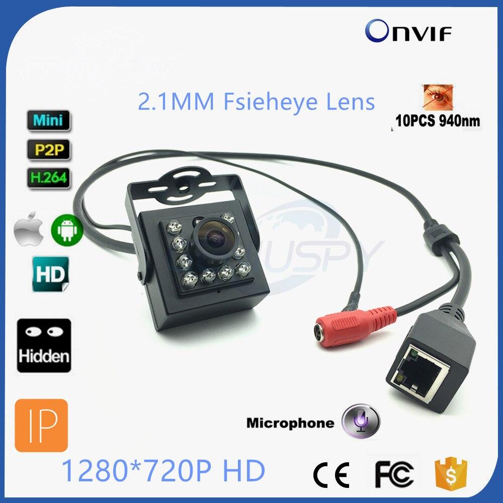 720P HD Wide Angle Night Vision MINI IR Camera 940nm Leds Onvif Cctv Ir Mini IP Camera Microphone Audio IR CUT Ethernet CAMERA mini ir