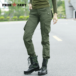Military Winter Women Pants Khaki Safari Style Autumn Casual Pants Female Workout Green Pockets SweatPants Straight Trousers