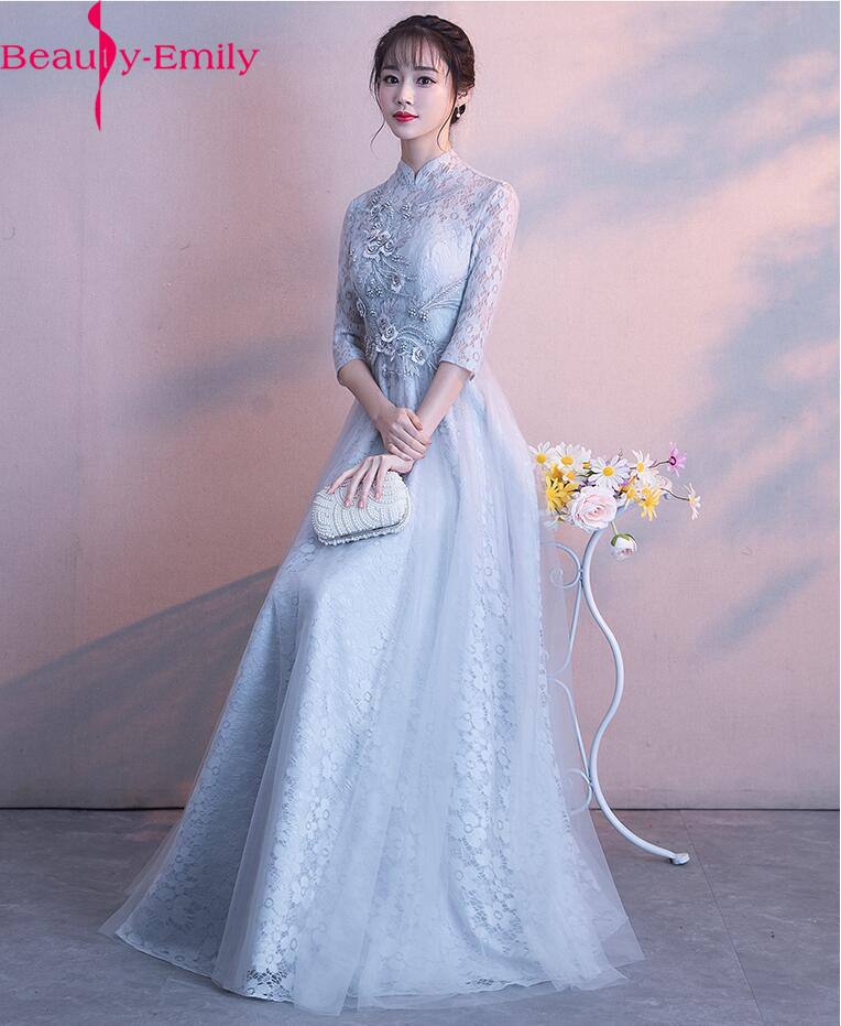 Lace Floral Beading   Evening     Dresses   Long sleeves muslim Formal floral Prom gown   Dress   2019 New   evening     dress   vestido de festa