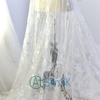 New African Lace Fabric 2017 High Quality Lace White Sequins Embroidery Lace Fabric For Lace Accessories