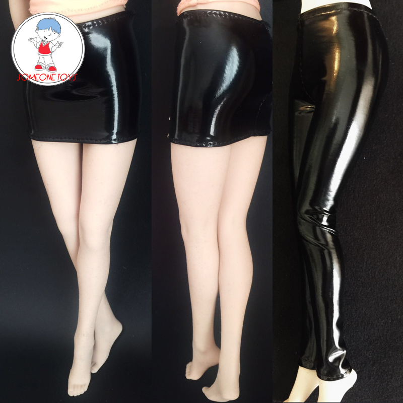 <font><b>Action</b></font> <font><b>Figure</b></font> Clothing 1/6 Scale Accessory <font><b>Sexy</b></font> Short Skirt Black Leather Trousers Stretch Model for 1:6 <font><b>Female</b></font> Body Dolls image