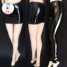 ملابس على شكل حركي موديل 1/6 إكسسوار مثير تنورة قصيرة بنطلون من الجلد الأسود طراز ممتد لدمى الجسم النسائية 1:6
