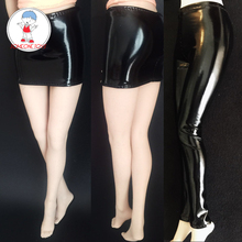 Action Figure Clothing 1/6 Scale Accessory Sexy Short Skirt Black Leather Trousers Stretch Model for 1:6 Female Body Dolls