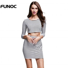 2017 Women Sexy  Bodycon Striped Bandage Crop Tops + Short Mini Skirt Female 2 Piece Clothing Set Girls Party Clothes Sets