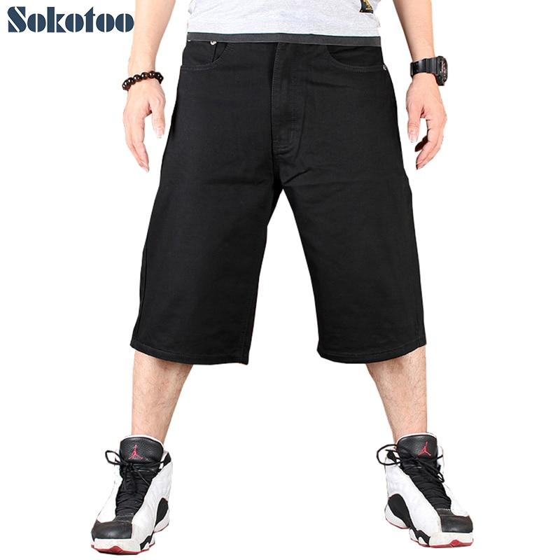 Sokotoo Men's hip hop pure black cotton denim shorts Hiphop streetwear skateboard plus large big size loose   jeans