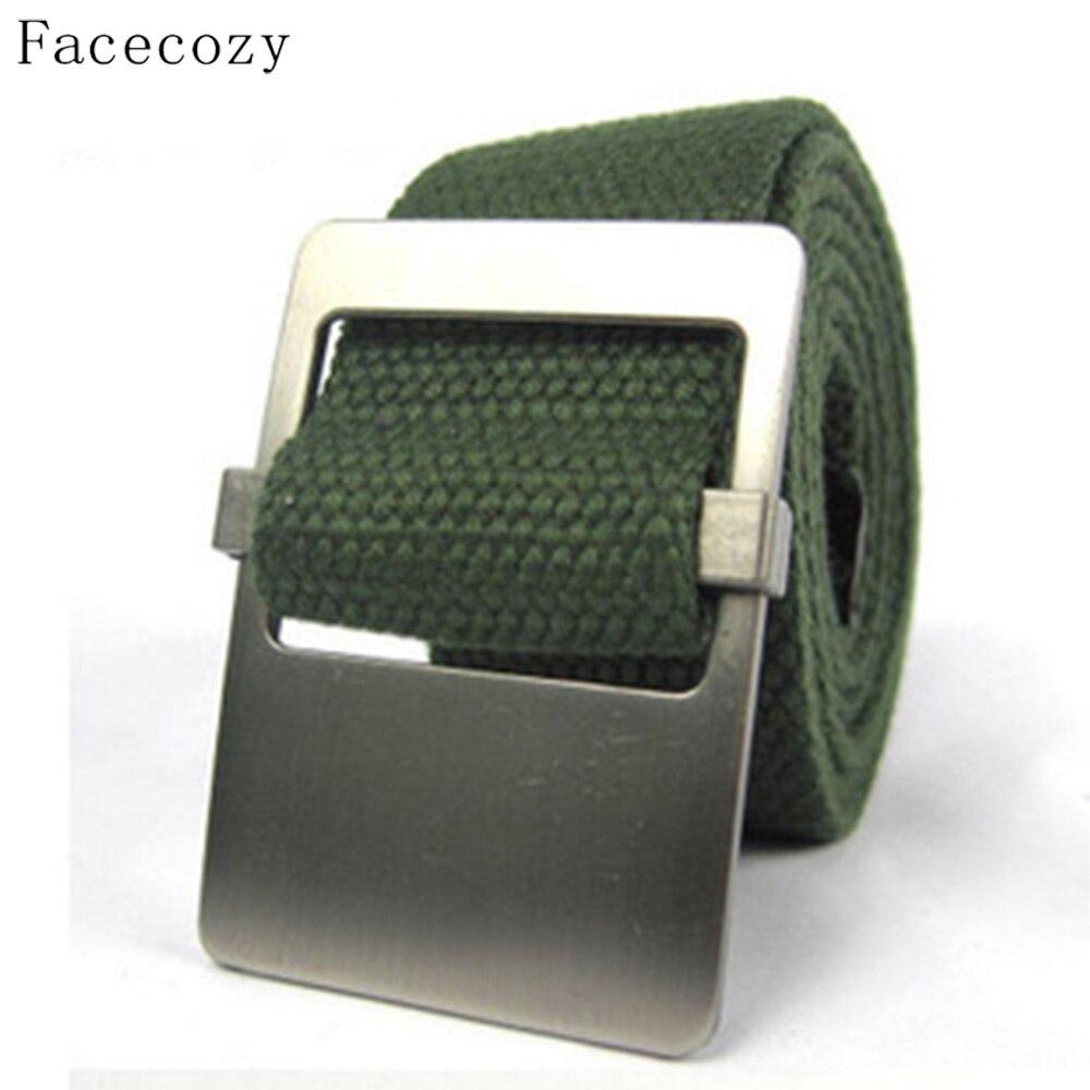 Prix pour Facecozy hommes Tactique Militaire Ceinture de Toile Lisse Boucle Épais Solide Toile tricoté Homme ceintures extérieure Randonnée Ceinture