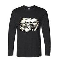 כותנה טבעית 2017 ברית המועצות הקומוניסטי הגדול לנין מרקס אנגלס מצחיק גברים לא חולצה שרוול ארוכות חולצות ה-t